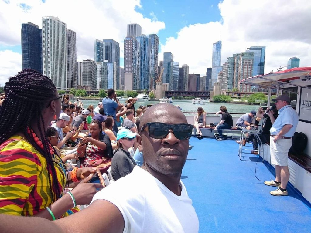 Calvin Kebati, enjoying the Chicago skyline