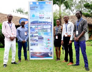 Members of Vision Future, a group of Bachelor of Architecture students from left Emmanuel, Reinier, Diana,Dickson and Felix with their creative design work