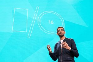 Google CEO Sundar Pichai giving his remarks during the io event last month