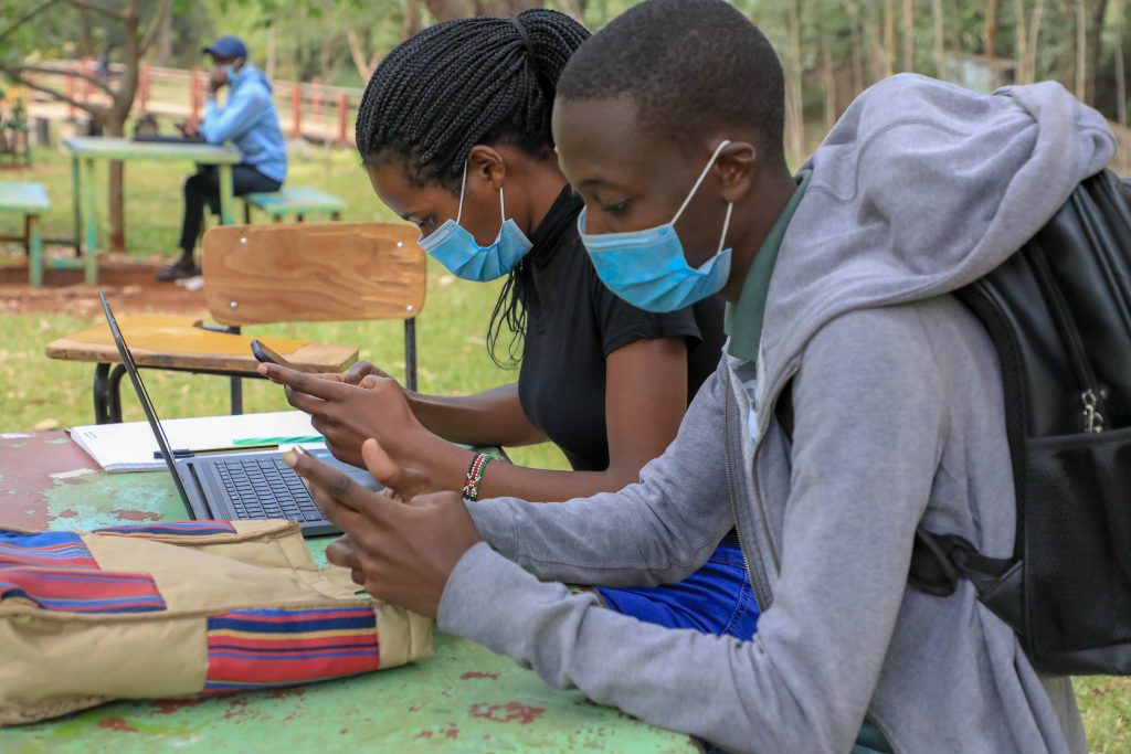 JKUAT Students attending online classes as part of the blended learning