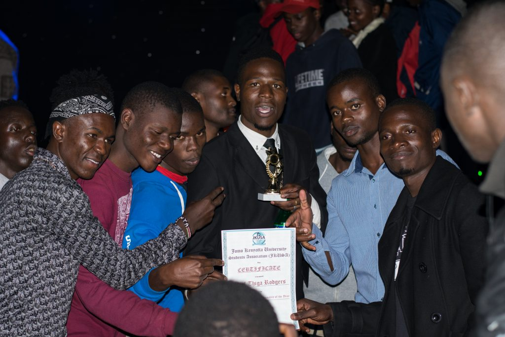 Comrades lounge in the victory of the Male Social Media Personality of the Year, Chief Thiga Rodgers.