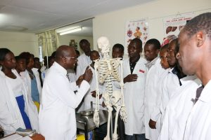Dr.-Mwaniki-explains-to-the-first-year-nursing-students-during-Human-Anatomy-practical-session
