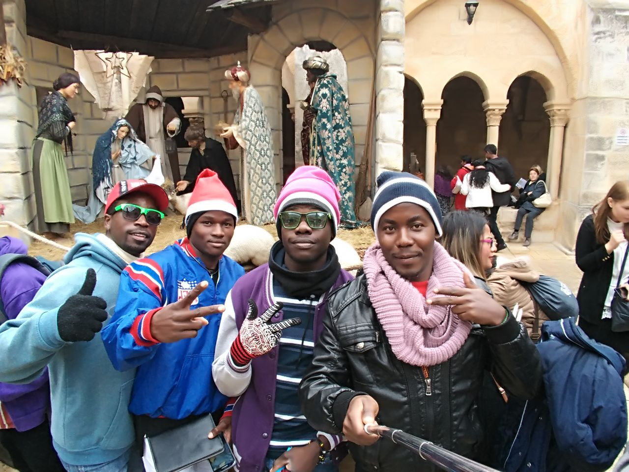 Minama Enos and other JKUAT students taking a tour in Bethlehem, the birthplace of Jesus Christ.