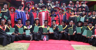 The PAUSTI graduating class pose for a photo with the JKUAT Chancellor, PAU Council President, JKUAT Vice Chancellor and other officials after being conferred with their M.Sc. Degrees.