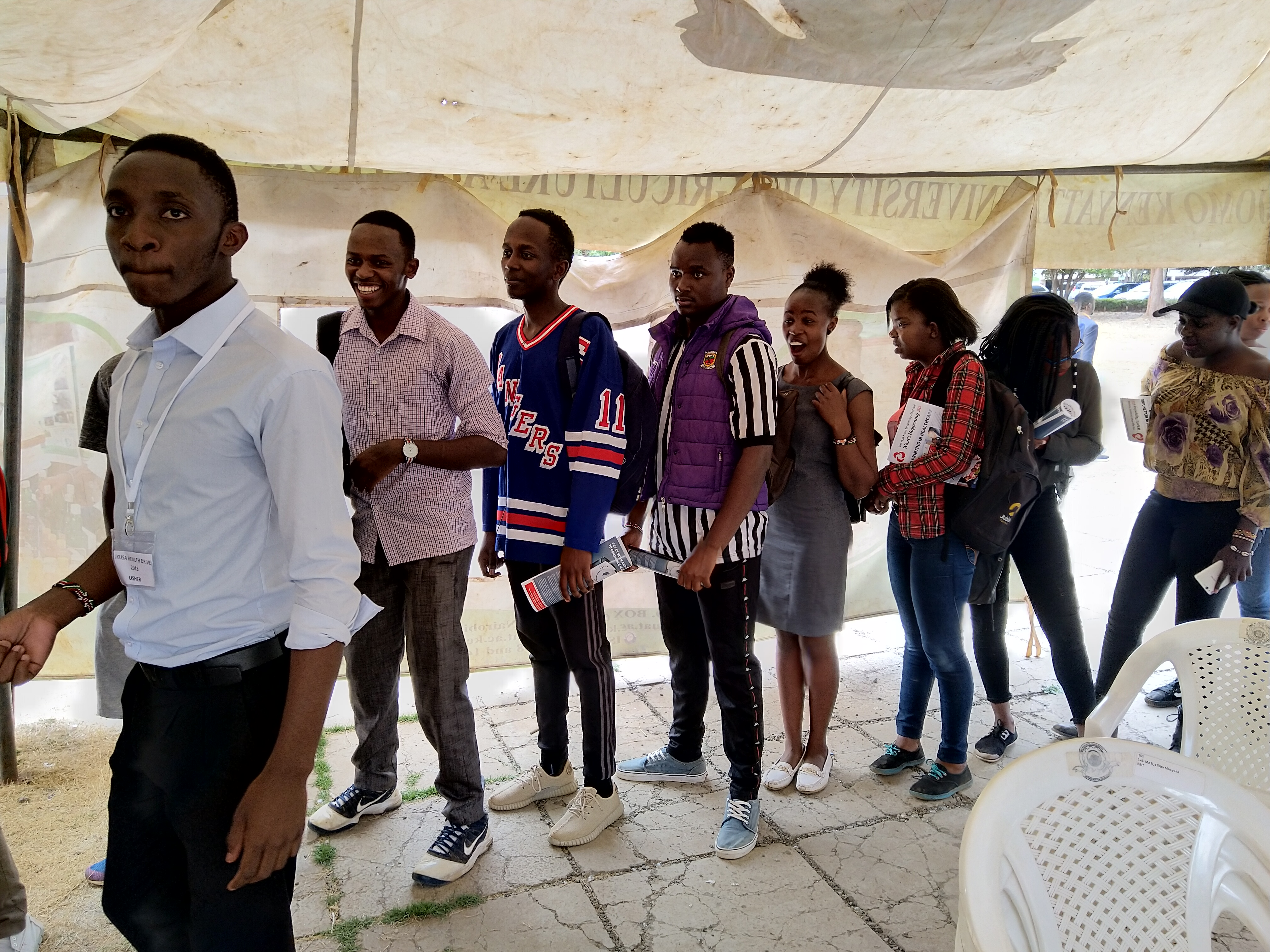 Students queue for some of the services