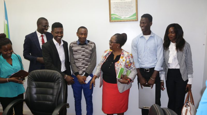 Prof. Ngumi interract with the student leaders after the meeting